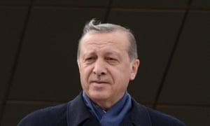 The Turkish president Recep Tayyip Erdogan giving his victory speech in Ankara.