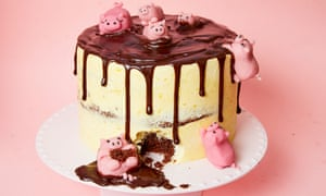 Pigs in mud cake with chocolate, orange and stem ginger