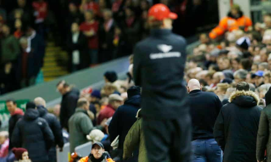 Jürgen Klopp looks on as fans leave before the end of the match that Crystal Palace won 2-1 in November 2015.