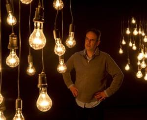 Lighting designer Michael Hulls works on his installation for No Body.