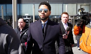 Jussie Smollett, an actor on Empire, leaves a Chicago courthouse after his appearance.