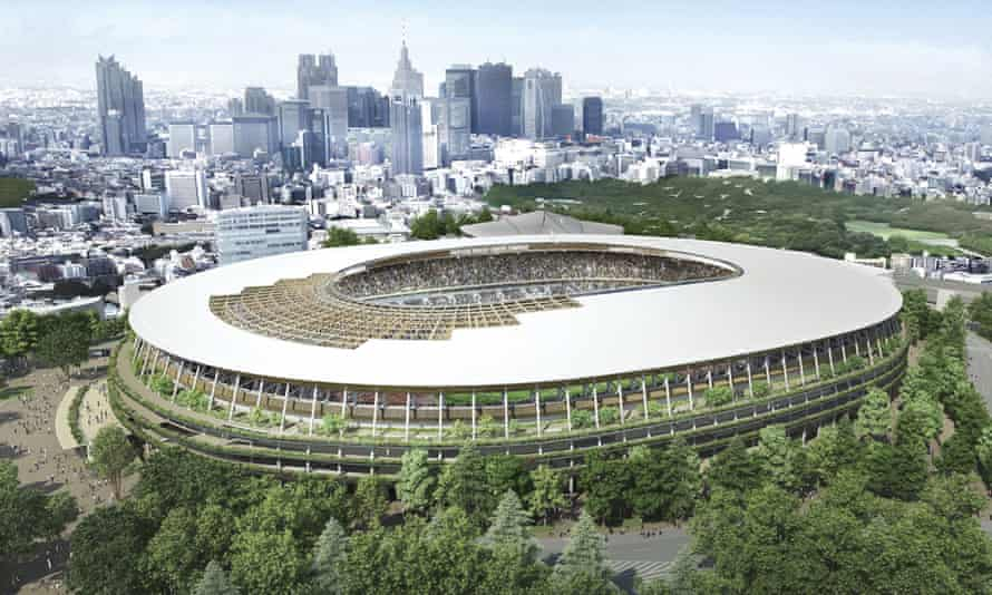 An artist's rendering of the new stadium designed for the 2020 Tokyo Olympics by the architect Kengo Kuma.