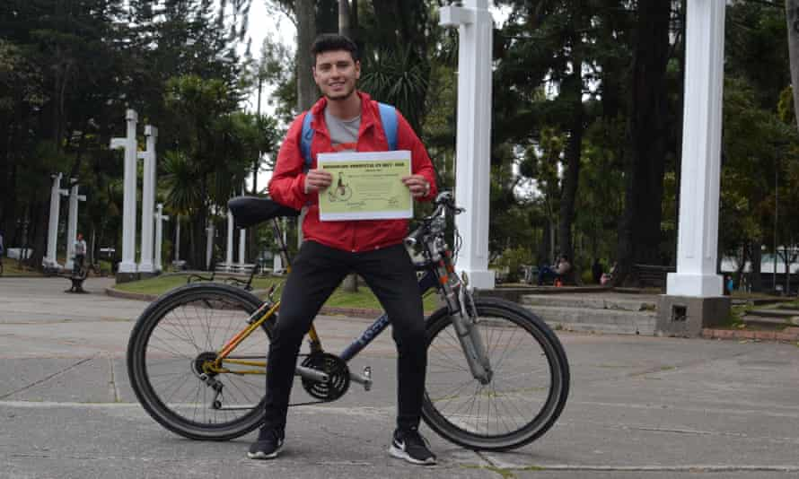 A participant with his certificate of completion.