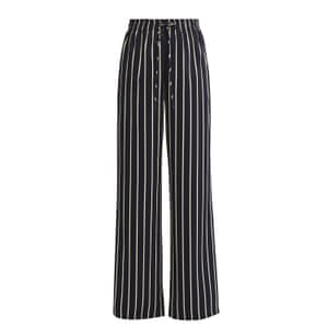 black and white satin striped wide legged trousers