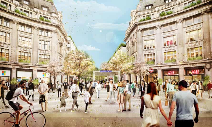 An artists impression of Oxford Circus in London with the western piazza, new access into the London Underground.