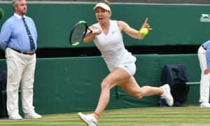 "Simona Halep plays a running forehand during her 6-2, 6-2 win over Serena Williams in what she described as ""the best match of my life""."