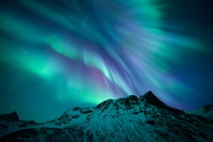 <strong>Motind </strong>Careening over the peaks of Senja, oxygen produces the greens and nitrogen the purples seen in this particular display of the Northern Lights