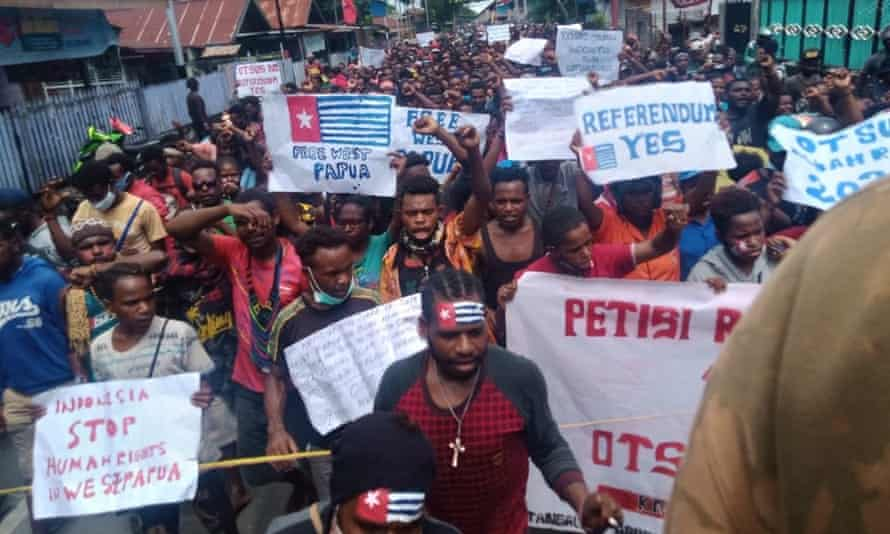 West Papuan pro-independence protests in Nabire Regency, opposing the extension of Indonesia's special autonomy law.