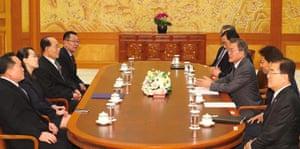 South Korea's president Moon Jae-in talks with Kim Yo-jong, North Korean leader Kim Jong-un's sister
