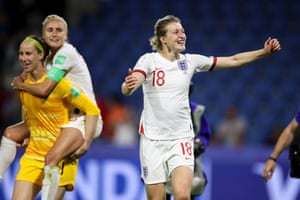 Ellen White of England celebrates at full time.