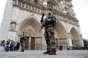 Soldiers patrol in November 2015 after a series of terrorist attacks on the French capital