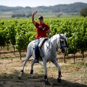 A fan on horseback.
