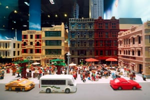 Lego buildings, vehicles and people