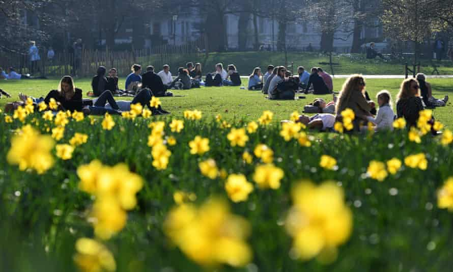 Park goers enjoy the warm winter weather in St. James's Park in London. The hottest winter day on record has been recored in Britain for a second day running.