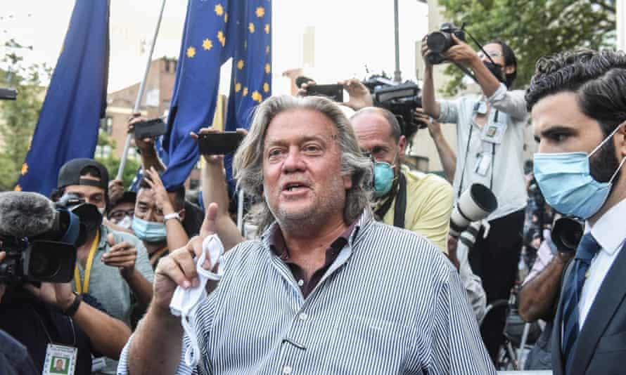Steve Bannon exits the Manhattan federal court in New York on Thursday.