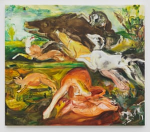 Cecily Brown, Hunt After Frans Snyders, 2019, Oil on Linen, 61 x 71 inches, Courtesy of the Artist