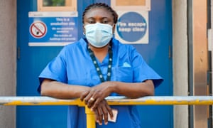 Ernesta Nat Cote, a hospital cleaner protesting for better pay and conditions at Lewisham hospital during the coronavirus pandemic