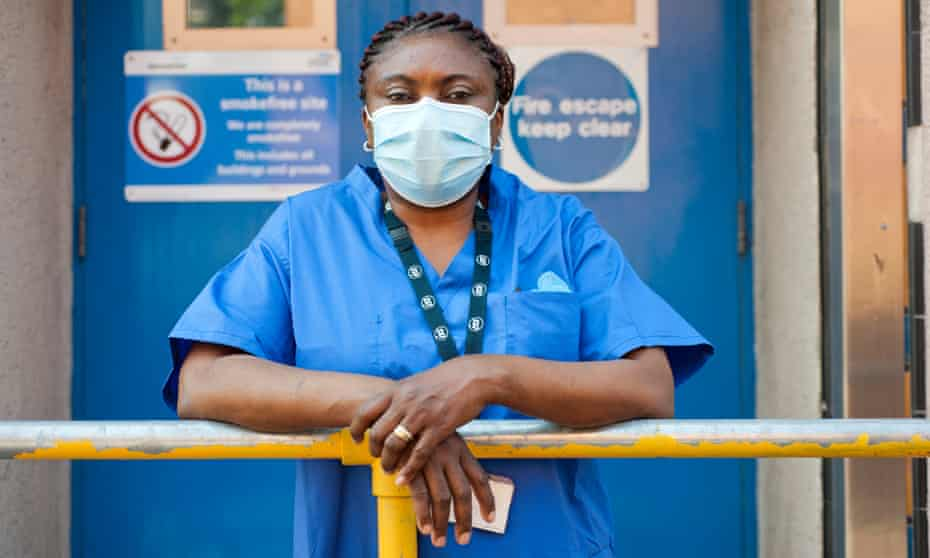 Ernesta Nat Cote, a hospital cleaner protesting for better pay and conditions at Lewisham hospital during the coronavirus pandemic.