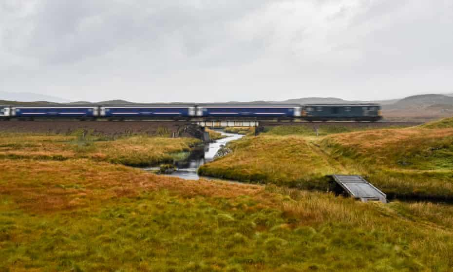 The Deerstalker train, part of the Caledonian Sleeper, near Corrour, the most remote station in the UK