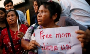 People take part in a demonstration asking for the release of Patnaree Chankij, mother of anti-junta activist Sirawith Seritiwat, in Bangkok.
