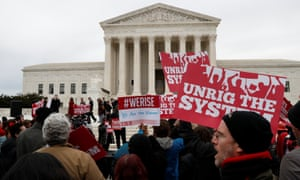 Union supporters rally outside of the supreme court in Washington DC on Monday.