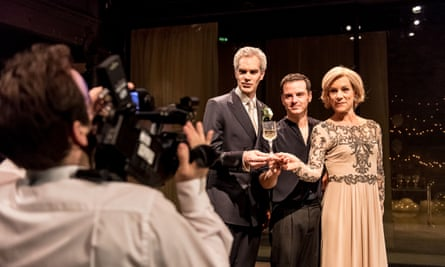 Angus Wright (Claudius), Andrew Scott (Hamlet) and Juliet Stevenson (Gertrude) in Hamlet at the Almeida.