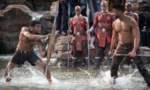 Chadwick Boseman and Michael B Jordan in Black Panther.