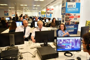 London, UK: Tory politicians including Sajid Javid, Boris Johnson, Natalie Evans and Michael Gove attend the phones at Conservative campaign HQ during election week