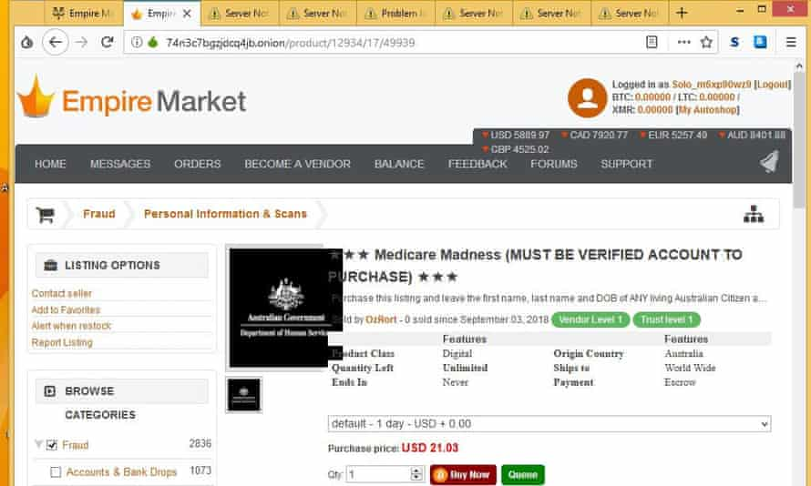 A Medicare Madness listing on Empire Market