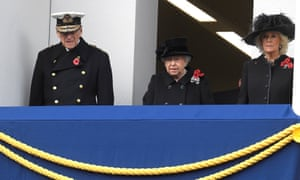 The Queen, Prince Philip and Camilla, Duchess of Cornwall attend the Remembrance Sunday service in London.