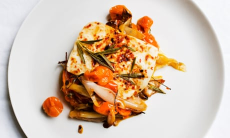 Nigel Slater's baked halloumi with tomatoes recipe