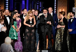 Jez Butterworth and the cast and crew of The Ferryman accept the award for best play.