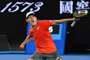 Alex de Minaur is justifiably ecstatic after his hard fought victory over Henri Laaksonen.