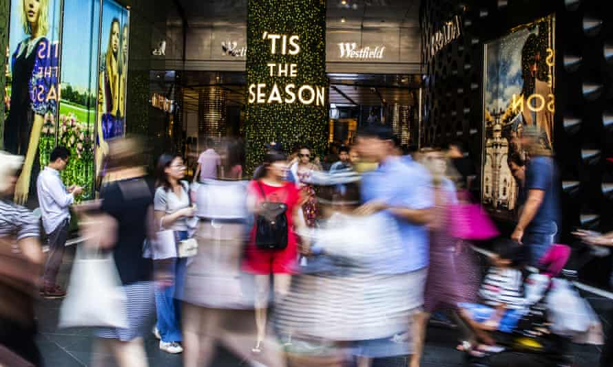 Shoppers in front of a Sydney mall