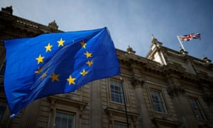 A European Union flag flutters outside the Cabinet Office in London
