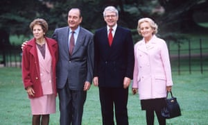 Norma Major, President Jacques Chirac, John Major and Bernadette Chirac at Chequers in 1995.