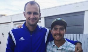John Allen Chau, right, with Casey Prince in Cape Town
