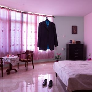 he dress and shoes of the prisoner Nael al-Barghouthi in his bedroom in Kobar, Palestine