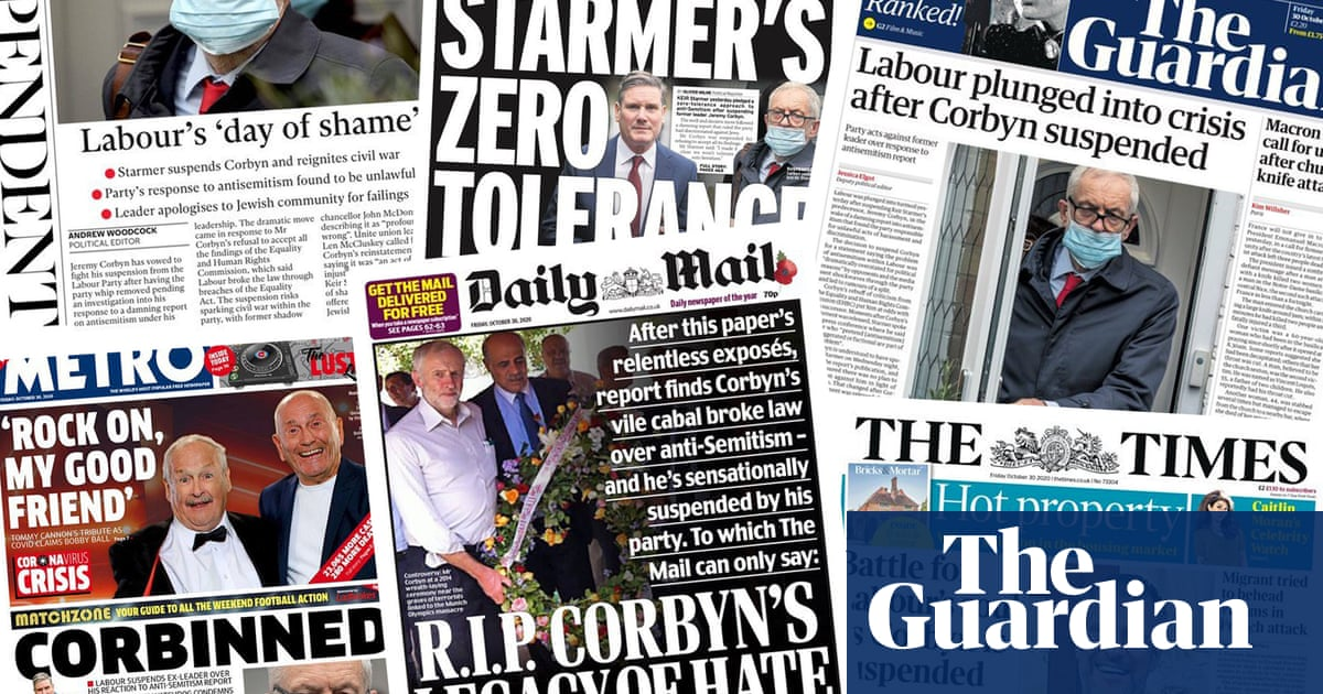 Battle for Labours soul: what the papers say about Jeremy Corbyns suspension