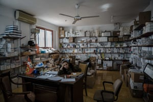 The pharmacy inside Sehida Sarya military field hospital in Hassaka, Syria.