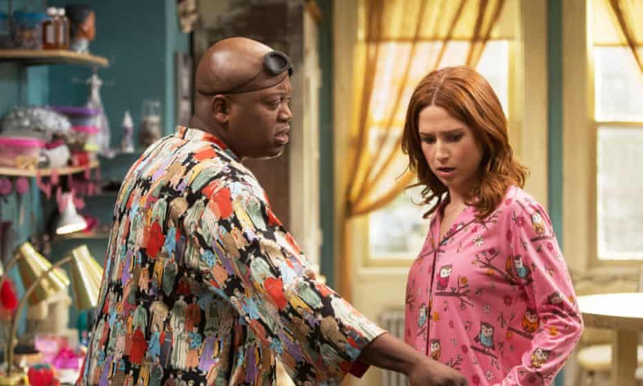Tituss Burgess and Ellie Kemper in Unbreakable Kimmy Schmidt.