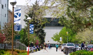 Students walk across the campus of Brigham Young University on 27 April 2016 in Provo, Utah.