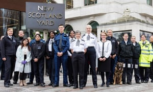 Officers outside New Scotland Yard