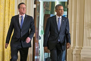 Barack Obama, David Cameron<br>President Barack Obama and British Prime Minister David Cameron arrive for their joint news conference in the East Room of the White House in Washington, Friday, Jan. 16, 2015. In a show of trans-Atlantic unity, President Barack Obama and British Prime Minister David Cameron pledged a joint effort on Friday to fight domestic terrorism following deadly attacks in France. They also strongly urged the U.S. Congress to hold off on implementing new sanctions on Iran in the midst of nuclear talks.  (AP Photo/Evan Vucci)