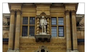 Controversy: Oriel College's statue of Cecil Rhodes facing Oxford's High Street.