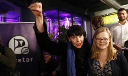 Birgitta Jónsdóttir (left), leader of the Pirate party.
