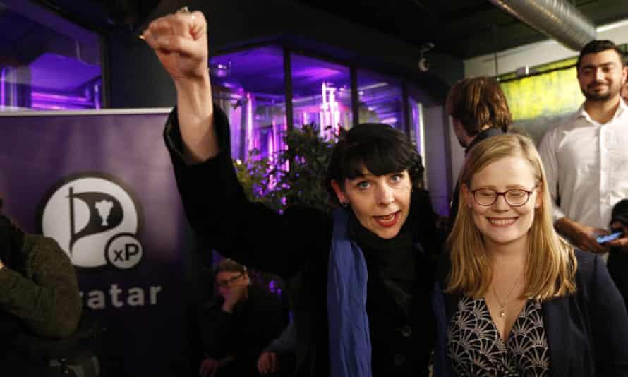 Birgitta Jonsdottir of Iceland's Pirate party celebrates last October's election results.