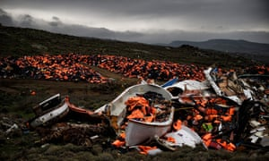 Some of the 1000s of life jackets from refugees crossing the Aegean sea last year, now in a dump in Greece.