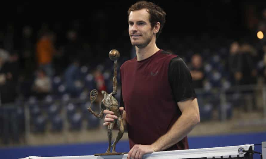Andy Murray with the trophy after winning the European Open. his first tournament vicory after hip surgery.