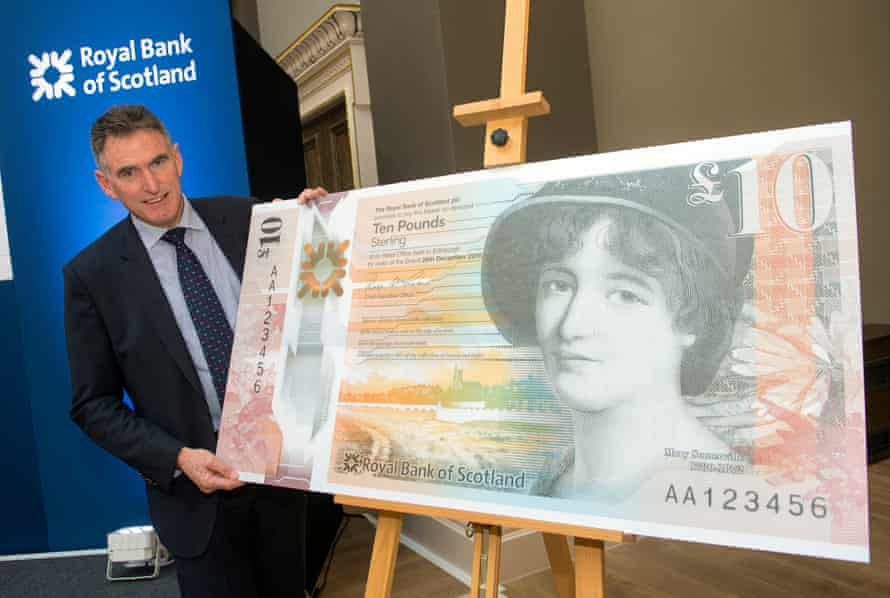 RBS chief Ross McEwan with his bank's first polymer £10 note commemorating scientist Mary Somerville, which will enter circulation on 4 October.